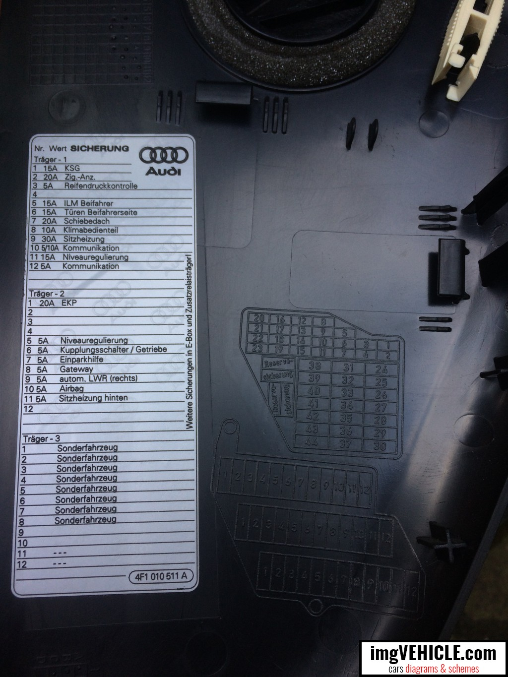 Audi A6 C6 Fuse Box Diagrams Schemes Ford 6 4 Dash Panel Diagram 2