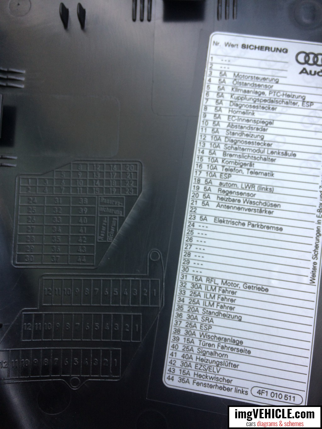 Audi A6 C6 Fuse box - dash panel diagram