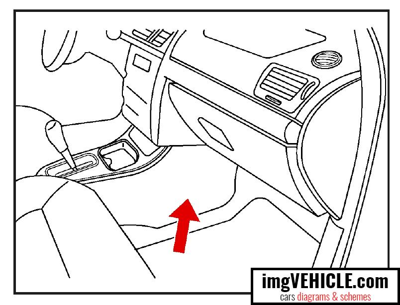 Emplacement du bloc de fusibles de la console au plancher de la boîte à fusibles Chevrolet Cobalt I