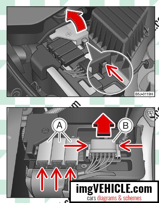 Škoda Roomster I Caja de fusibles Compartimento del motor Ubicación de la caja de fusibles