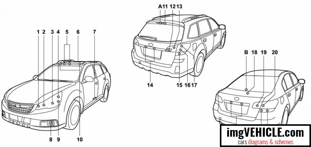 Subaru Legacy V Lights bulb chart